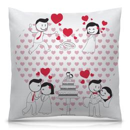 """Подушка 40х40 с полной запечаткой """"Свадьба"""" - любовь, свадьба, семья, сердечки, пары"""