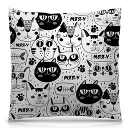 """Подушка 40х40 с полной запечаткой """"Котики"""" - животные, стиль, рисунок, коты, кошачий"""