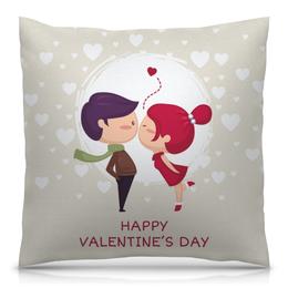 """Подушка 40х40 с полной запечаткой """"День влюблённых"""" - день влюблённых, сердечки, любовь, 14 февраля, пары"""