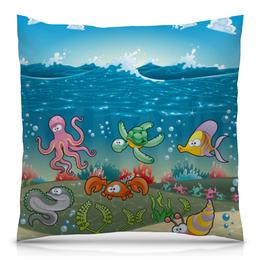 """Подушка 40х40 с полной запечаткой """"Обитатели моря"""" - море, кораллы, обитатели моря"""