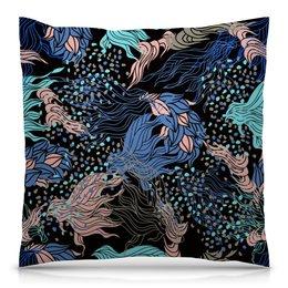 """Подушка 40х40 с полной запечаткой """"Узор листьев"""" - цветы, узор, листья, природа, листва"""