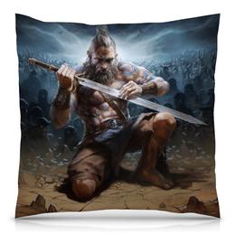 "Подушка 40х40 с полной запечаткой ""Варвар"" - diablo, меч, викинг, viking"