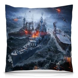 """Подушка 40х40 с полной запечаткой """"Корабли"""" - война, море, огонь, самолет, корабль"""
