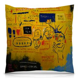 """Подушка 40х40 с полной запечаткой """"Basquiat / Баския"""" - арт, граффити, корона, basquiat, баския"""