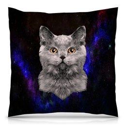 """Подушка 40х40 с полной запечаткой """"Котенок"""" - кот, звезды, котенок, космос, коты в космосе"""