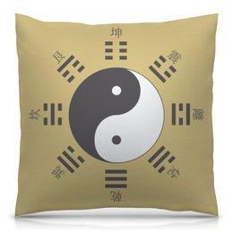 """Подушка 40х40 с полной запечаткой """"Космогенез в китайской философии"""" - монада, триграммы, дао, инь-ян, китай"""