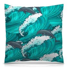 """Подушка 40х40 с полной запечаткой """"Дельфины"""" - лето, море, волна, рыба, дельфин"""