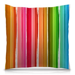 """Подушка 40х40 с полной запечаткой """"Радуга"""" - узор, радуга, рисунок, полосатый, красочный"""