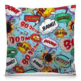 """Подушка 40х40 с полной запечаткой """"BOOOOM!"""" - комиксы, bang, надпись, стиль"""