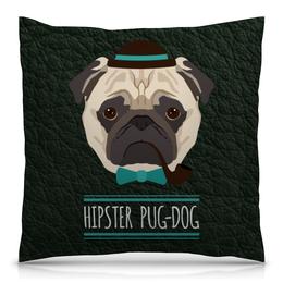 "Подушка 40х40 с полной запечаткой ""Мопс хипстер"" - собака, шляпа, трубка, хипстер, год собаки"