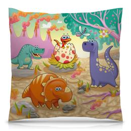 """Подушка 40х40 с полной запечаткой """"Забавные динозаврики"""" - животные, природа, динозавры, вулкан"""