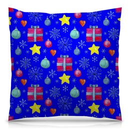 """Подушка 40х40 с полной запечаткой """"новый год"""" - новый год, звезды, зима, игрушки, подарки"""