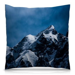 """Подушка 40х40 с полной запечаткой """"Снег в горах"""" - снег, небо, природа, горы, пейзаж"""