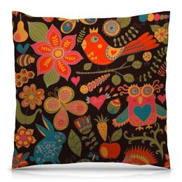 """Подушка 40х40 с полной запечаткой """"птичка и цветы"""" - бабочка, цветы, животные, природа, птичка"""