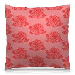 """Подушка 40х40 с полной запечаткой """"Узор роз"""" - цветы, узор, весна, природа, розы"""
