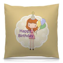 """Подушка 40х40 с полной запечаткой """"День рождения"""" - день рождения, happy birthday"""