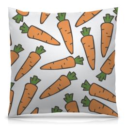 """Подушка 40х40 с полной запечаткой """"Морковки"""" - лето, веган, здоровье, морковь, овощи"""