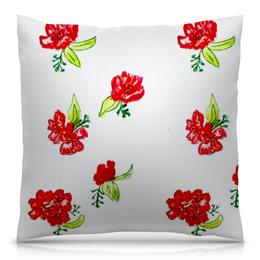 """Подушка 40х40 с полной запечаткой """"Подушка Красные цветы"""" - красные цветы, маки, лето, цветы"""