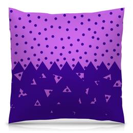 """Подушка 40х40 с полной запечаткой """"Падающие треугольники"""" - сиреневый, фиолетовый, треугольник, горох, половина"""