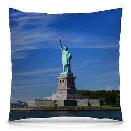 """Подушка 40х40 с полной запечаткой """"Статуя Свободы"""" - нью-йорк, америка, статуя свободы"""