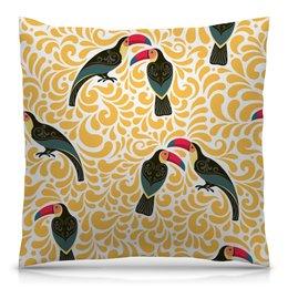 """Подушка 40х40 с полной запечаткой """"Птички"""" - цветы, животные, листья, птицы, природа"""