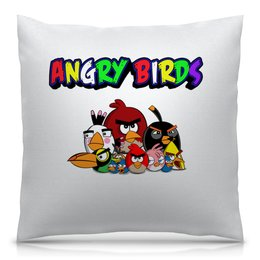 """Подушка 40х40 с полной запечаткой """"Angry Birds"""" - птицы, птички, мульт, angry birds, энгри бёрдз"""