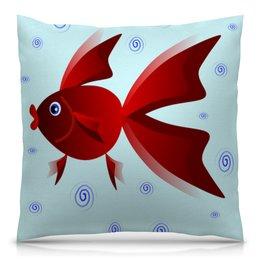 """Подушка 40х40 с полной запечаткой """"Золотая аквариумная рыбка"""" - арт, золотая рыбка, аквариум, детская иллюстрация, под знаком рыб"""