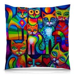 "Подушка 40х40 с полной запечаткой ""Кошечки "" - арт, котики, милота"