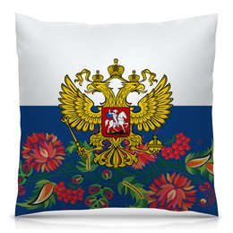 "Подушка 40х40 с полной запечаткой ""Хохлома"" - цветы, россия, герб, орел, хохлома"