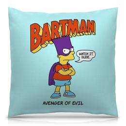 """Подушка 40х40 с полной запечаткой """"Бартмен"""" - прикольные, супергерои, симпсоны, барт симпсон, бартмен"""