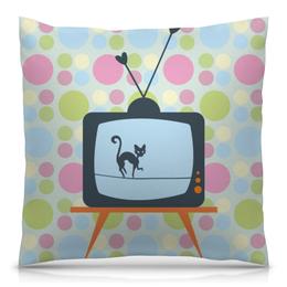 """Подушка 40х40 с полной запечаткой """"Кот на крыше"""" - кот, телевизор, коты, абстрактный, котёнок"""