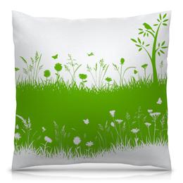 """Подушка 40х40 с полной запечаткой """"Летняя трава"""" - бабочки, лето, цветы, трава, стрекозы"""