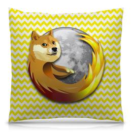 "Подушка 40х40 с полной запечаткой ""Doge Firefox"" - dog, doge, mozilla firefox"