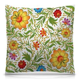 """Подушка 40х40 с полной запечаткой """"Цветочный узор"""" - цветы, узор, листья, хохлома, роспись"""