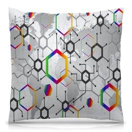 """Подушка 40х40 с полной запечаткой """"Формула"""" - узор, текстура, формула, химия, молекулы"""
