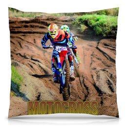 """Подушка 40х40 с полной запечаткой """"Motocross"""" - мотоцикл, мотокросс, motocross, эндуро, мотогонщику"""
