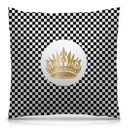 """Подушка 40х40 с полной запечаткой """"Алиса в стране чудес паттерн"""" - корона, черно-белый, клетка, люкс, шахматка"""