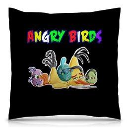 """Подушка 40х40 с полной запечаткой """"Энгри Бердз"""" - птицы, птички, мульт, angry birds, энгри бёрдз"""