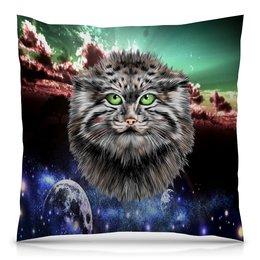 """Подушка 40х40 с полной запечаткой """"Кот в космосе"""" - кот, звезды, котенок, космос, коты в космосе"""