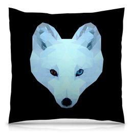 """Подушка 40х40 с полной запечаткой """"Белый волк"""" - животные, собака, волк, белый медведь"""