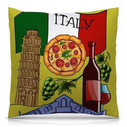 """Подушка 40х40 с полной запечаткой """"Любовь к Италии"""" - италия, флаг, путешествия, вино, пицца"""