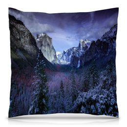 """Подушка 40х40 с полной запечаткой """"Синие горы"""" - лес, природа, горы, пейзаж, скалы"""