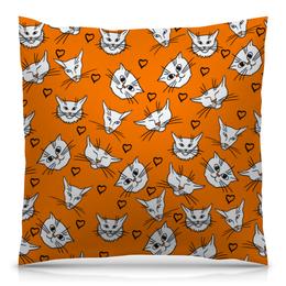 """Подушка 40х40 с полной запечаткой """"Котики."""" - кот, оранжевый, коты, сердечки, паттерн"""