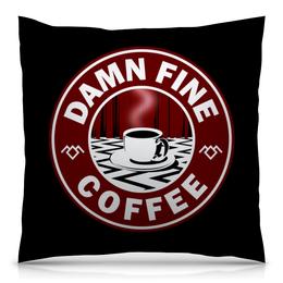 """Подушка 40х40 с полной запечаткой """"Твин Пикс"""" - кофе, twin peaks, лора палмер, твин пикс, агент купер"""