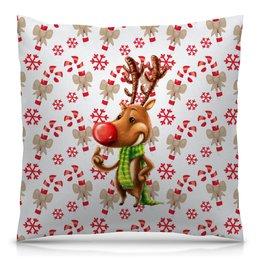 """Подушка 40х40 с полной запечаткой """"новый год"""" - новый год, зима, подарки, снежинки, олень"""