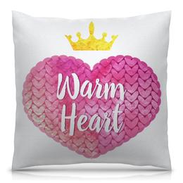"""Подушка 40х40 с полной запечаткой """"Теплое сердце"""" - сердце, арт, корона, розовый, вязание"""