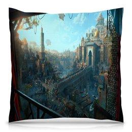 """Подушка 40х40 с полной запечаткой """"Город"""" - игры, город, компьютерные игры, пейзаж, здания"""