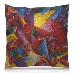"""Подушка 40х40 с полной запечаткой """"Пластичные формы лошади (картина Умберто Боччони)"""" - картина, живопись, футуризм, кубизм, боччони"""