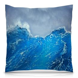 """Подушка 40х40 с полной запечаткой """"Морские волны"""" - море, синий, вода, волны, шторм"""