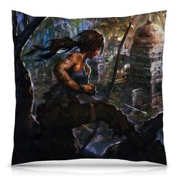 """Подушка 40х40 с полной запечаткой """"Лара Крофт (Tomb Raider)"""" - tomb raider, лара крофт"""